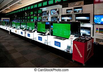 grande, vendita dettaglio, elettronico, negozio