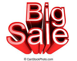 grande, venta, promoción, señal, aislado, 3d, ilustración