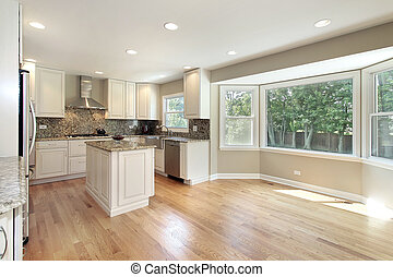 grande, ventanal, cocina