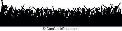grande, ventilatori, silhouette, folla, persone