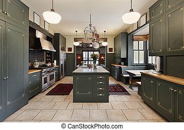 grande, verde, cabinetry, cozinha
