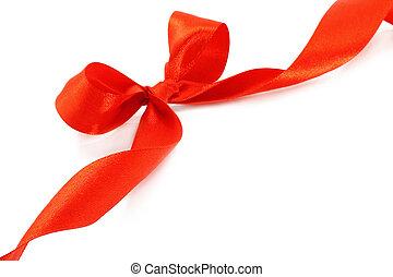 grande, vermelho, feriado, arco, branco, fundo