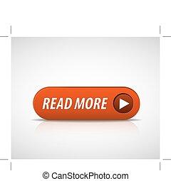 grande, vermelho, ler, mais, botão