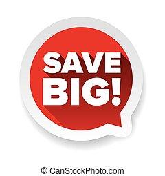 grande, vetorial, etiqueta, salvar