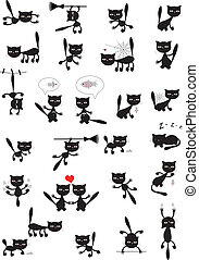 grande, vetorial, jogo, de, a, pretas, cats.