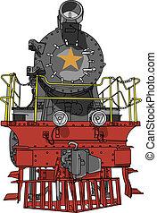 grande, vetorial, pretas, locomotiva