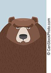 grande, vettore, bear., illustrazione, marrone
