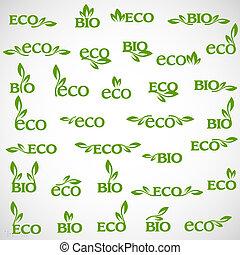 grande, vettore, collezione, eco-icons