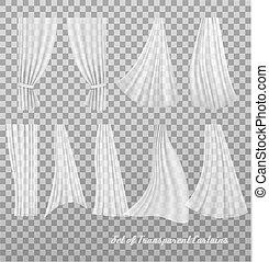 grande, vettore, curtains., trasparente, collezione