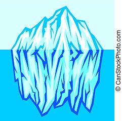 grande, vettore, iceberg, mare, illustrazione