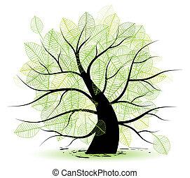 grande, viejo, hoja, árbol verde