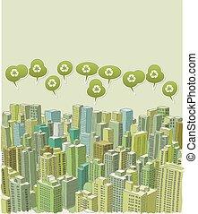 grande ville, paysage vert