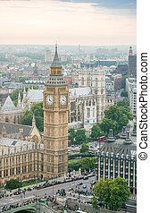 grande, vista, aéreo, ben, london.