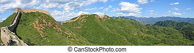 grande, vista, de, a, grande parede china, ond, a, montanhas, china, panorama