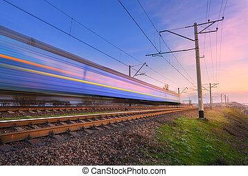 grande vitesse, bleu, train passager, dans mouvement