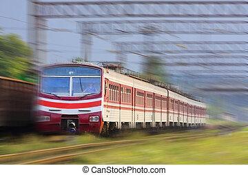 grande vitesse, train passager, sur, les, manière