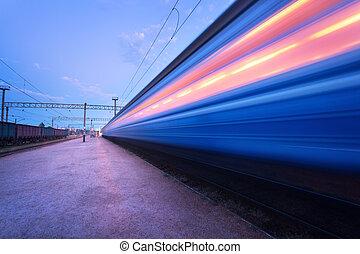 grande vitesse, train passager, sur, pistes, à, ternissure mouvement, effet