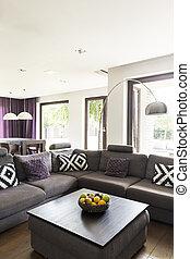 grande, vivendo, confortável, sala, sofá