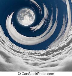 grande, vortice, pieno, nubi, luna