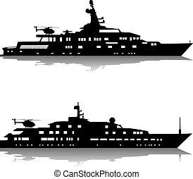grande, yacht, con, elicotteri
