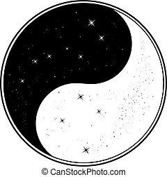 grande, yin, croce del sud, mestolo, yang