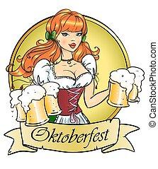 grandes tasses, épinglez, bière, jolie fille