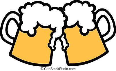 grandes tasses, bière, grillage