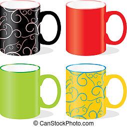 grandes tasses, isolé, coloré