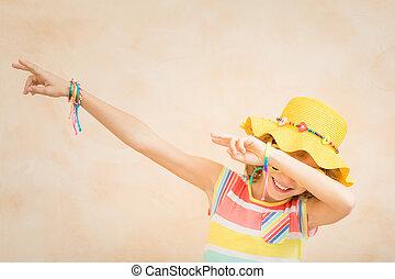 grandes vacances, adolescent, amusement, avoir, heureux