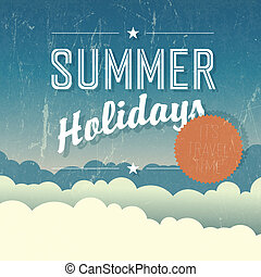 grandes vacances, poster., vecteur