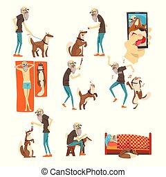 Grandfathe and his dog set, lonely senior man and his animal pet in different situations vector Illustration on a white background