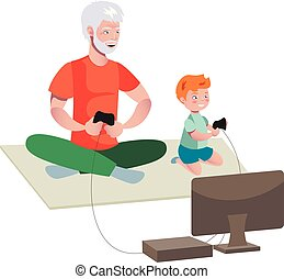 Grandfather And Boy Playing Video Games