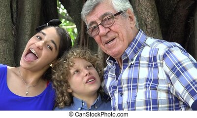 Grandfather and Grand Kids Fun Time