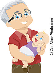 Grandfather and Grandchild - Illustration Featuring an ...