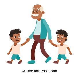 Grandfather and grandchildren twins walking