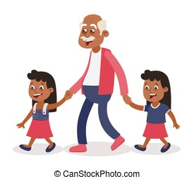 Grandfather and granddaughter twins walking