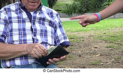 Grandfather and Grandkids - Grandfather Giving Money to...