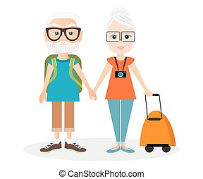 Grandfather and grandmother with a packsack travel. Travelling with the knapsack. Vector illustration eps 10 isolated on white background. Flat cartoon style.
