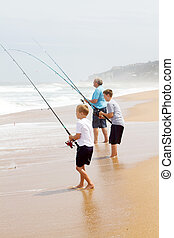 grandfather and grandsons fishing - grandfather and two...