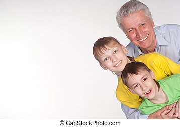 grandfather and grandsons - grandfather with his grandsons...