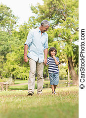 Grandfather and son walking on grass in park