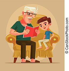Grandfather character sit with grandson and read book story. Vector flat cartoon illustration