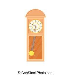 Grandfather clock icon, cartoon style