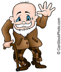 Grandfather - colored cartoon illustration, vector