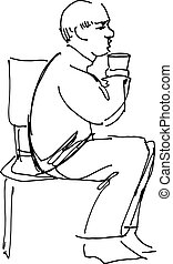 grandfather drinking from a glass - black and white sketch...