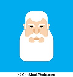 Grandfather face isolated. Granddad head Gray beard vector ...
