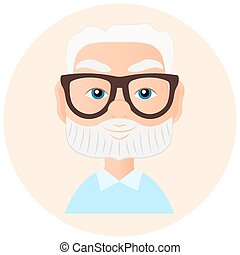 Grandfather Faces Avatar in circle. Vector illustration eps 10 isolated on white background. Flat cartoon style.