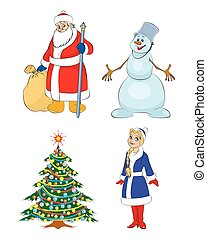 Grandfather Frost, Christmas tree, Snow maiden, snowman - ...