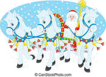 Grandfather Frost in his sleigh with three white horses