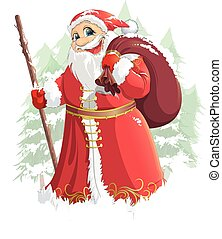Grandfather Frost painted on a white background with a bag ...